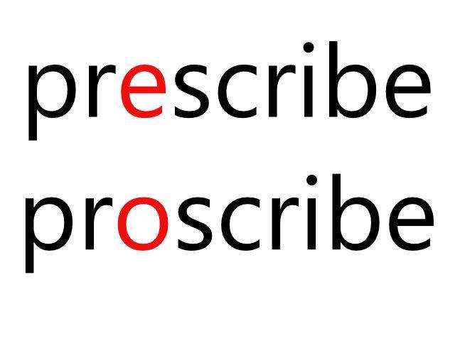 prescribeとproscribeの違い:語い