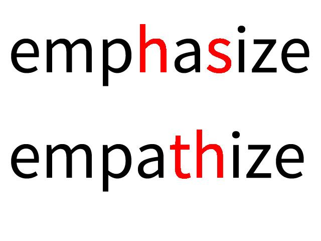 emphasize と empathize の違いについて:語い